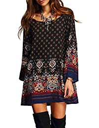 Uplife Women's Bohemian Vintage Floral Printed Ethnic Style Loose Casual Tunic Dress