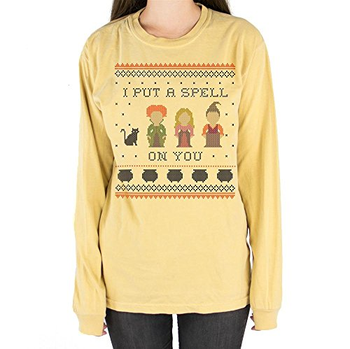 I Put A Spell On You Hocus Pocus Long Sleeve Shirt Unisex Medium Mustard for $<!--$22.99-->