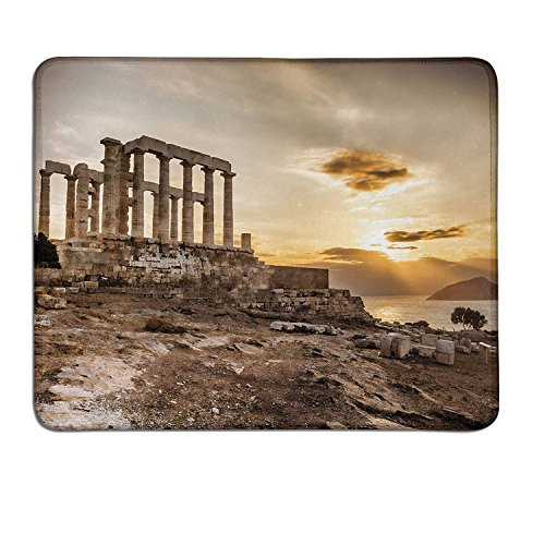 Price comparison product image Pillar patterned mouse pad Greek Temple Poseidon at the Sunset Sea and the Cloudy Sky Digital Image Printcustomized mouse pad Taupe and Beige