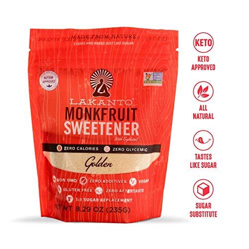 Lakanto Monkfruit Sweetener 1:1 Sugar Substitute Keto NonGMO Golden  829 ounces