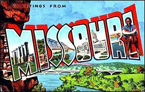 JR Studio 3x5 inch Vintage Greetings from Missouri Sticker (Old Postcard Art Logo mi) Vinyl Decal Sticker Car Waterproof Car Decal Bumper Sticker ()