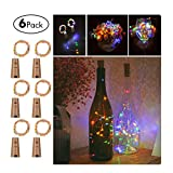 Wine Bottles String Lights, GardenDecor 6 Packs Micro Artificial Cork Copper Wire Starry Fairy Lights, Battery Operated Lights for Bedroom, Parties, Wedding, Decoration(6 Packs 2m/7.2ft ,Mutil Color)