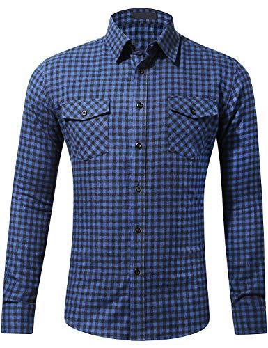 - DOKKIA Men's Dress Buffalo Plaid Checkered Fitted Long Sleeve Flannel Shirts (Navy Blue Black Tartan, Medium)