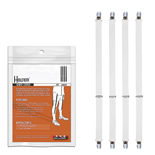 (Hold'Em Premium Shirt Stays MADE IN USA Ultra Soft Elastic with Extra Sturdy Strong Metal Clips - Straight-white)
