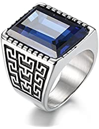 Jewelry Mens Stainless Steel Cz Ring Vintage Large Charming Gemstone Band