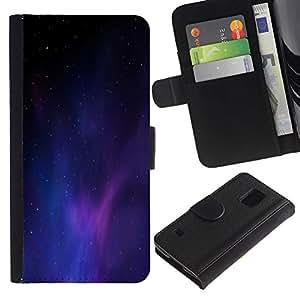 LASTONE PHONE CASE / Lujo Billetera de Cuero Caso del tirón Titular de la tarjeta Flip Carcasa Funda para Samsung Galaxy S5 V SM-G900 / Universe Purple Blue Light Galaxy Dust