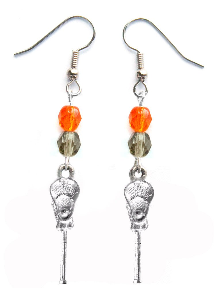 ''Lacrosse Stick & Ball'' Lacrosse Earrings (Team Colors Orange & Grey)