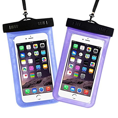 Eastern Horses Universal Waterproof Phone Case, Waterproof Dry Bag Compatible for iPhone Xs X 8 7 6S 6 Plus, Samsung Galaxy S9/S9 Plus/S8/S8 Plus, Body Devices Up to 7 inch - 2 Pack (Blue-Purple).