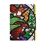 Rabbit And Cat With Flower In Stained Glass Leather Passport Holder Cover Case Protector for Men Women Travel with Slots