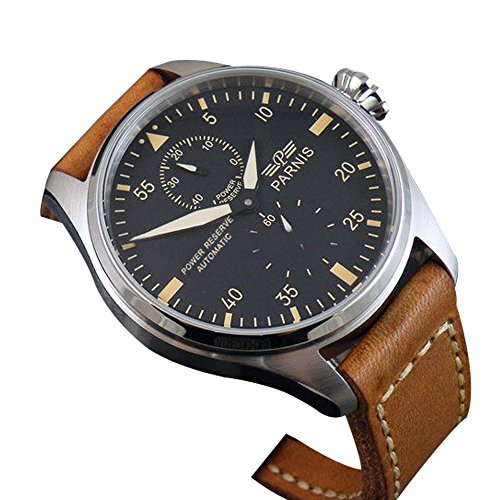 Whatswatch 47mm parnis big pilot stainless steel power reserve automatic mens watch PA-0113