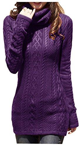 v28 Women Polo Neck Knit Stretchable Elasticity Long Slim Sweater 0-4,Purple ()