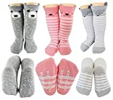 Baby Girl Knee High Long Socks Non Slip Toddler Socks 8-24 Months Anti Slip Non Skid Leg Warmer Walker Baby Socks Gift Set, Best Gifts for 1 Year Old Girl from Tiny Captain (Pink, Small)