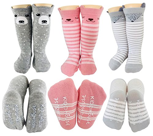 Baby Girl Knee High Long Socks Non Slip Toddler Socks 8-24 Months Anti Slip Non Skid Leg Warmer Walker Baby Socks Gift Set, Best Gifts for 1 Year Old Girl from Tiny Captain (Pink, Small) from Tiny Captain