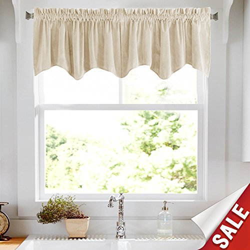 jinchan Half Blackout Velvet Curtain Weave-shape Valance, Rod Pocket Drapes for Bedroom Window Curtains, Thermal Insulated Rod Pocket 1 Panel, 18