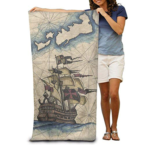 Funlery Happ Large Beach Towels Bath Sheets Nautical Captain Sailboat Pirate Map Beach Towels Luxury Soft Eco-Friendly Printing Design Camping,Non-Toxic d¨¦cor 31