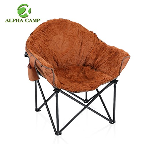 ALPHA CAMP Plush Moon Saucer Chair with Carry Bag – Supports 350 LBS, Brown