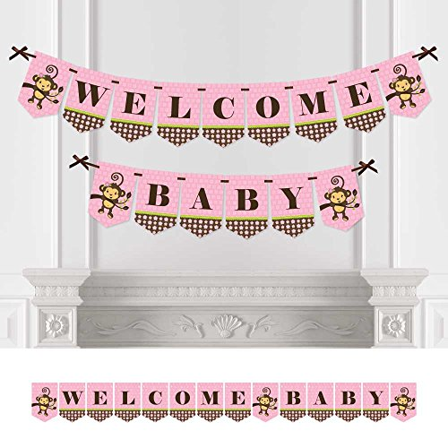 Big Dot of Happiness Pink Monkey Girl - Baby Shower Bunting Banner - Pink Party Decorations - Welcome Baby