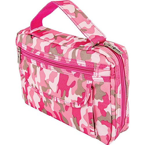 Womens Ladies Girls Pink Camo Bible Scripture Book Tote Protective Carrier Holder Cover (Scripture Cover)