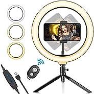 """Luz de Anillo LED para selfie de 10,2"""",Salandens Trípode Stand Control Remoto Bluetooth Soporte para Telé"""