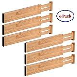 G-LEAF 6 Set Drawer Dividers Bamboo Adjustable Kitchen Drawers Organizer Divider