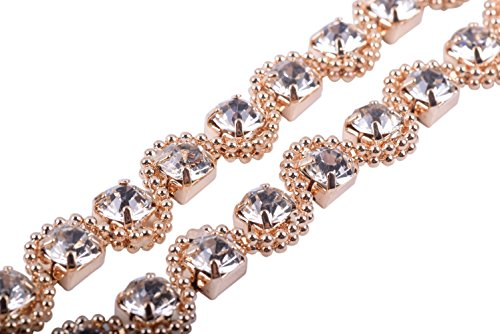 KAOYOO 1 Yard Serpentine-Shaped Claw Chains Rhinestone Chain Trims Golden Copper Beads S Shape Winding SS29/6.4mm/0.25, Single Drill for Wedding Home and DIY Craft Jewelry Making,Sewing Craft