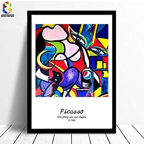 HDWALLART Picasso Famoso Cuadro en Lienzo de Arte Pintura Poster Cuadro de la Pared para la Sala de Estar Decoración Abstracta Decoración para el hogar Van Gogh 30x40 cm Sin Marco
