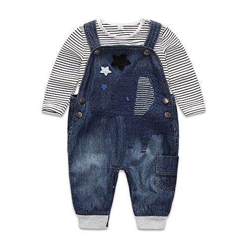 Baby Boys Girls Cotton Romper Bodysuit Jumpsuit Outfits Clothing Set (Blue) - 3