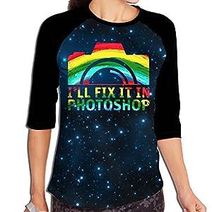 Lwnek I'll Fix It In Photoshop Womens Or Youth Plain Raglan Shirt 3/4 Sleeve Athletic Baseball XL