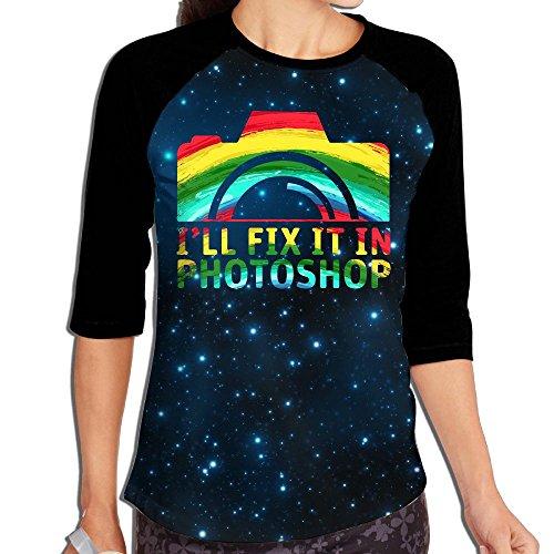 Lwnek I'll Fix It In Photoshop Womens Or Youth Plain Raglan Shirt 3/4 Sleeve Athletic Baseball - Sunglasses Photoshop