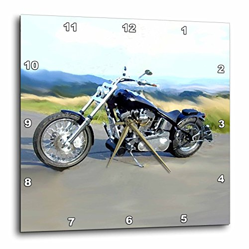 3dRose dpp_ 4842_3 Harley-Davidson Motorcycle Picture Wall Clock (Clock Motorcycle Harley Davidson)