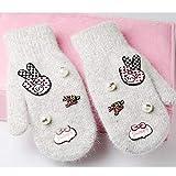 VT BigHome Women Winter Gloves Soft Wool Rabbit Fur Fashion Gloves Lovely Warm Pearl Gloves for Girl