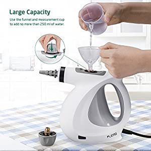 Handheld Steam Cleaner, PLEMO Pressurized Steam Cleaner Chemical-Free Steam Cleaning with 9-Piece Accessory for Stain Removal, Carpets, Curtains, Car Seats, Kitchen Surface & Much More