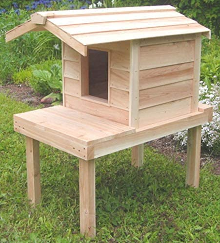 Outdoor Cat House with Lounging Deck and Extended Roof, Thermal-ply on heated cat house plans, outdoor cat house plans, feral cat winter shelter plans, insulated rabbit house plans, insulated dog house plans,