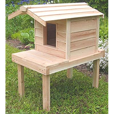 Image of Outdoor Cat House with Lounging Deck and Extended Roof, Thermal-ply Insulation, Waterproof Shelter with Raised Platform and Cedar Construction Home and Kitchen