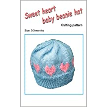 Sweet heart baby beanie hat knitting pattern