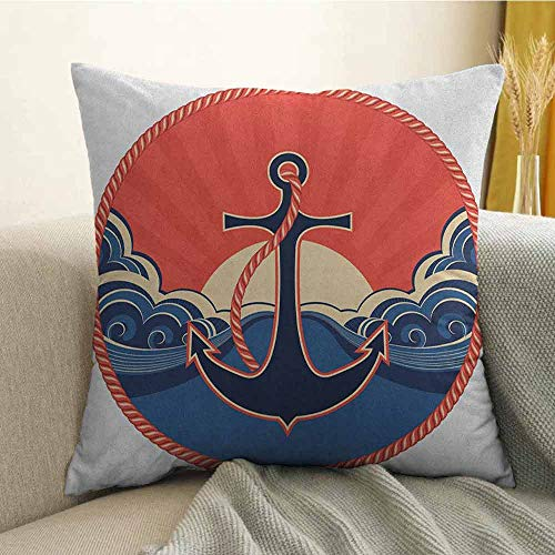 FreeKite Anchor Printed Custom Pillowcase Navy Label with Robe and Sea Waves at Sunset Anchor Retro Aquatic Life Icons Decorative Sofa Hug Pillowcase W24 x L24 Inch Red Blue Yellow