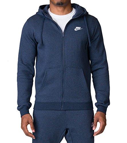 Nike Club Fleece Mens Sportswear Full Zip Hoodie Green//White 804389-375 Size XL