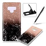 Soft Case for Samsung Galaxy Note 9,Anti Scratch Cover for Samsung Galaxy Note 9,Herzzer Stylish Pretty Glitter Black Marble Stone Pattern TPU Bumper Flexible Shock Scratch Resist Rubber Case