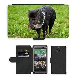 PU LEATHER case coque housse smartphone Flip bag Cover protection // M00133460 Animal Negro Jabalí Hierba Verde Hog // HTC One M8