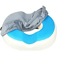 Donut Cushion Pillow ZZCP Cool Gel Memory Foam Coccyx Cushion, Comfort Orthopedic for Tailbone ,Hemorrhoids ,Bed Sores and Sitting Pain Relief- Ideal for Office Chair and Car (Grey)