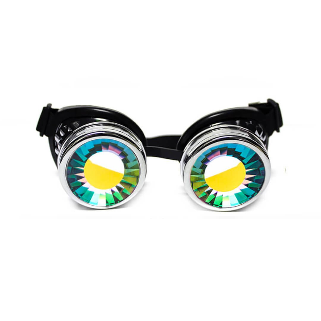 GloFX Wormhole Kaleidoscope Goggles - Festival Rave Costume Cosplay Prism EDM 3D Welding Gothic Goggles BLK-WORM