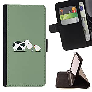 For HTC One M8 Funny Cow Birth Chicken Leather Foilo Wallet Cover Case with Magnetic Closure