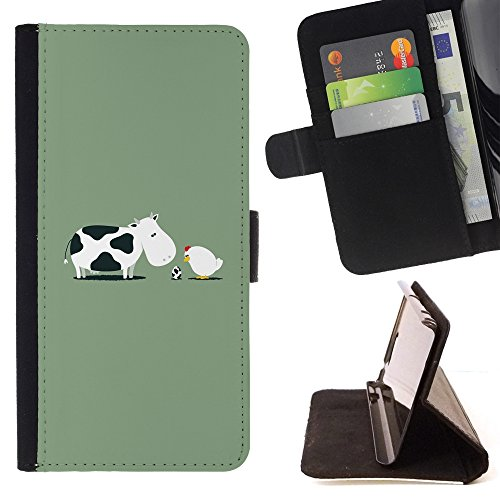 XP-Tech / Flip Wallet Diary PU Leather Case Cover With Card Slot for Samsung Galaxy S7 edge (Curved screen,NOT FOR S7)/ S7 edge Duos / G930 - Funny Cow Birth Chicken