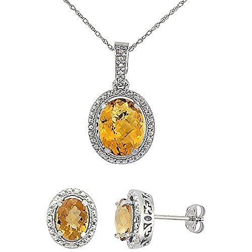 Boucles d'oreilles et pendentif à quartz ovale à whisky naturel or blanc 9carats de diamants Accents
