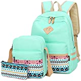 School Backpack Teen Girls Bookbag Canvas School Bag Sets