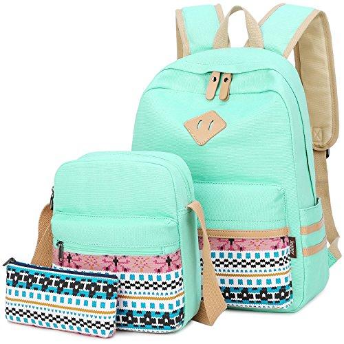 (School Backpacks for Teen Girls Bookbags Lightweight Canvas Backpack Schoolbag Set (Water blue))