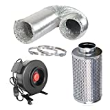 DLS 6-inch 410 CFM Inline Fan Carbon Filter Combo With Fans Speed Controller and 25-Feet-Grow Ducting for Grow Tent Exhaust Kit
