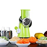 Vegetable Mandoline Julienne Slicer Cheese Grater, Kitchen Cutter Shredder, Rotary Drum Food Grinder for Veggie Fruit Cucumber Onion, Pasta Salad Maker with 3 Stainless Steel Blades (Green+Clear) Review