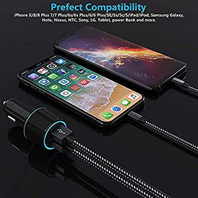 Car Charger, Czznn Fast Car Charger Extra Long 6 ft Charging Cable Compatible iPhone Car Charger iPhone X/8/7/6s/6/SE