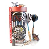 Darts Steel Tip Set (15 Pack) 18 Grams with Millstone Sharpener| Aluminum Shaft, Brass Barrel and Storage Jar Carry Case| Professional Dartboard Games with 5 Unique PET Flights Design By Action Arrows
